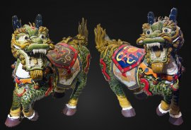 "14""H LARGE Chinese Feng Shui Fu Foo Dog Imperial Guardian Dragon"