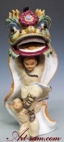 Ancient Chinese Traditional Lion Dragon Dance Ceramic Porcelain Figurine Statue