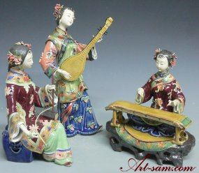China Porcelain Dolla Ceramic Figurine Oriental Girls Musicians 3/Set