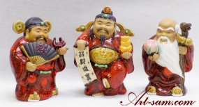 Chinese Feng Shui Three Wise God Lucky Immortals Ceramic Statue 3/SET