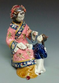 Chinese Porcelain Doll, Figurine, Statue, Ceramic Figure, Mother, Child, Kids