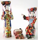 Delicate Ancient Qing Ceramic Figurine - Concubine Playing Chess