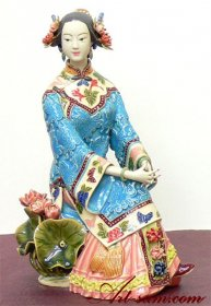 Master Ancient Oriental Chinese Woman - Ceramic Figurine Status