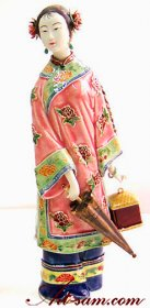 Porcelain Ceramic Dolls Shiwan Ceramic Lady Figurine Celebration