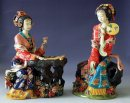 Porcelain figurine set master ancient great beauty lady