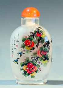 Sparrows on Spring Tree - Inside Painted Snuff Bottle