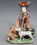The Concubine - Qing Dynasty Chinese Lady With Dog Ceramic Figur
