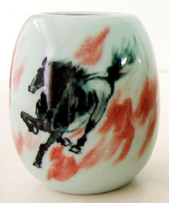 Underglaze Black Copper-Red Decorated Horse Porcelain Vase/Pot OLD AGE