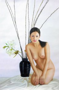 Unique Chinese Oriental Erotic Nude Woman Model Hand Oil Painting On Canvas