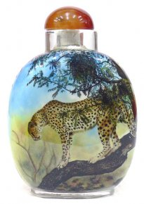 Wild Leopard - Animals - Inside Painted Snuff Bottle