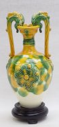 "9""H Quality Tang Tri-Color Sancai Color glazed Pottery Ceramic Dragon Vase"