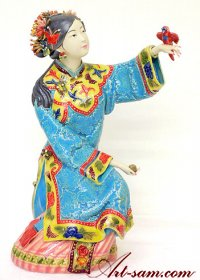 Ancient Chinese Woman - Ceramic Lady Figurine Freedom Bird