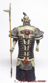 Ceramic Figurine Ancient Chinese Warrior Brave invincible Genera