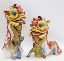 Chinese Ceramic Porcelain Dolls Figurine Lion Dragon Dance PAIR