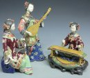 Chinese Oriental Musician Lady Porcelain / Ceramic Doll Figurine 3/Set