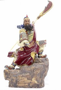 """Guan Gong Guarding"" Chinese Ceramic / Porcelain Figurine Statue"
