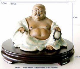 Happy Buddha - Chinese Traditional Symbolic Ceramic Figurine