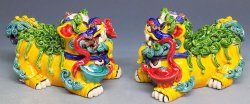 Koji Pottery Ceramics - Chinese Guard Feng Shui Foo Dogs Figurine Statue