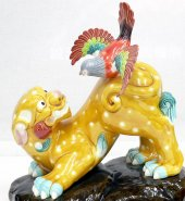 Leopard & Magpies Bird Koji Tang Tri-Color Pottery Glazed Porcelain Figurine 12""