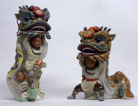 PAIR Exclusive Masterpiece Ancient Chinese Traditional Lion Dragon Dance Statue