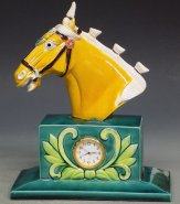 Tang Tri-Color Glazed Ceramic Horse Head Statue Clock Symbol Of Success