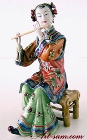 The Flautist Lady - Classical Porcelain Figurine Chinese Musician China Doll