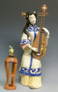 The Pipa Musician Lady with a Bird - Oriental Lady Figurine Porcelain China