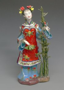 Ceramic Figurine Chinese Oriental Beautiful Girl Bamboo Bird