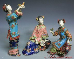 Chinese Ceramic Figurine Statue Freedom Bird Three Sister Set