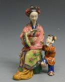 Chinese Ceramic Figurine Woman Mother / child