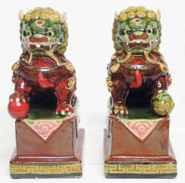 Chinese Feng Shui Fu Foo Dog Lions Ceramic Statue Figurine PAIR