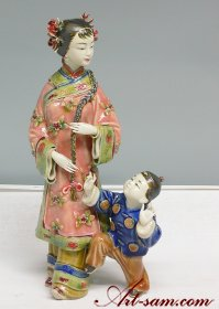 Mother & Child Kids Shiwan Chinese Ceramic Woman Figurine Statue