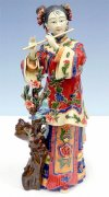 Musician Lady Bird Playing Flute Porcelain / Ceramic Figurine