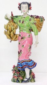 Porcelain Ceramic Dolls Figurine Oriental Ethnic Chinese Woman