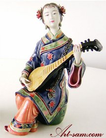 The Pipa Lady - Traditional Chinese Musician - Chinese Ceramic Lady Figurine