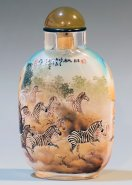 Zebras & Deer Forest Painted Snuff Bottle Masterpiece