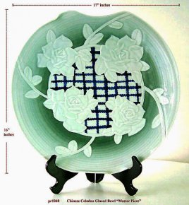 Celadon Glazed Dish Bowl Carved Orchids in High Relief - 17""