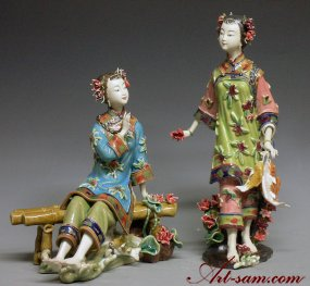 Ceramic / Porcelain Doll Woman Figurine Chinese Beauty Sister Dream Of Red Chamb