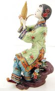 "Chinese Ceramic Lady Figurine Performing ""Reed Organ"""