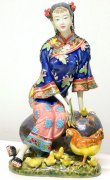 Chinese Porcelain Oriental Lady Figurine - Rooster Feeding