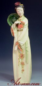 Masterpiece Ceramic Porcelain Figurine Doll Chinese Oriental Woman