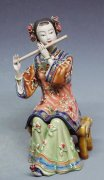 Shiwan Chinese Oriental Lady Porcelain Doll Figurine Flautist Musician