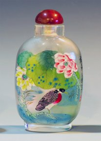 Sparrow & Flowers - Inside Hand Painted Snuff Bottle