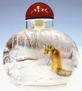 The Mountain Wolf in the Snow - Inside Painted Snuff Bottle
