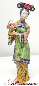 Traditional Chinese Lady - Shiwan Chinese Ceramic Lady Figurine