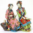 Twins Sister - Chinese Porcelain / Ceramic Lady Figurine Masterp