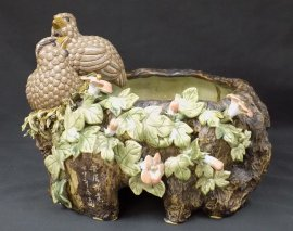 "12"" 17 years old Ceramic Masterpiece Happy Couple Quail Flower Feng Shui pot"