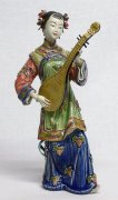 Musician Lady - Shiwan Chinese Ceramic Lady Figurine