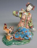Porcelain / Ceramic Dolls Figurine China Oriental Girl Rooster Feeding