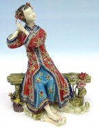 The Joyful Lady - Shiwan Chinese Porcelain Lady Figurine